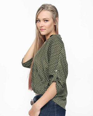 Olive Polka Dot Top - alma boutique