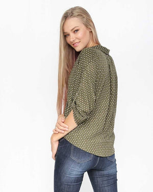 Olive Faux Wrap Polka Dot Top - alma boutique