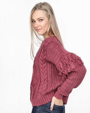 Burgundy Fringe Sweater - alma boutique