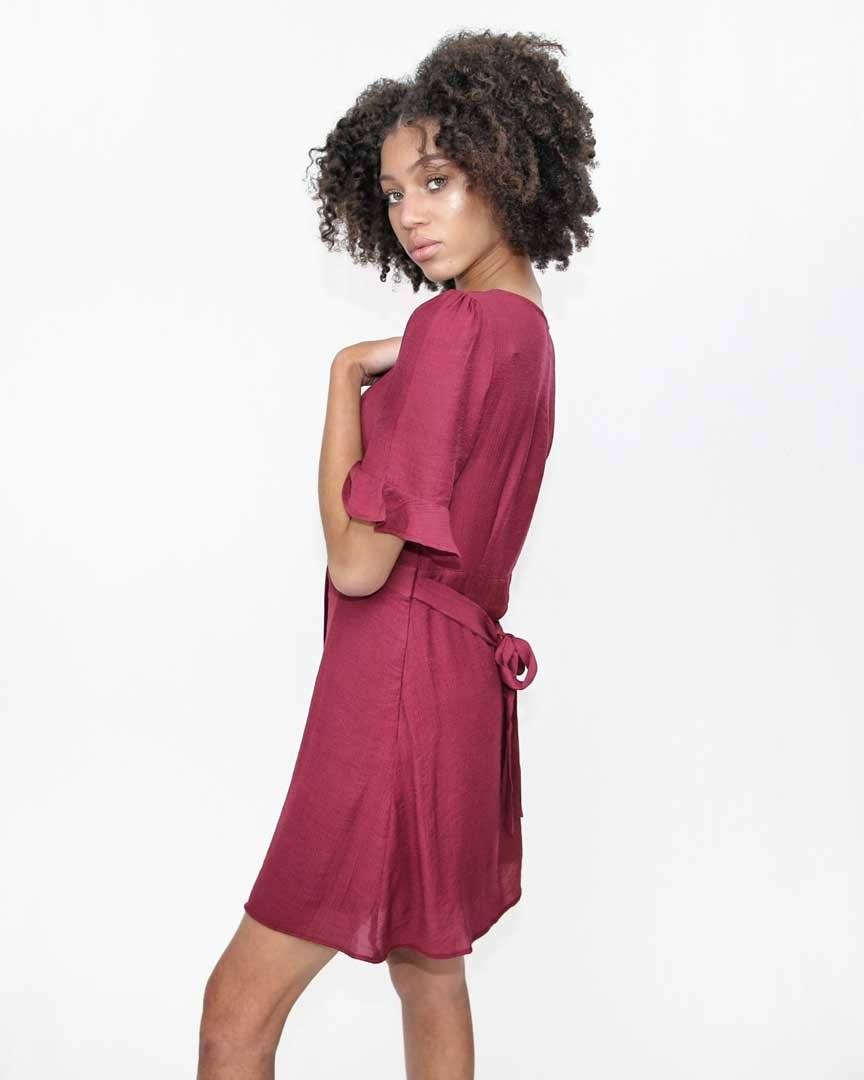 Burgundy Button Ruffle Dress - alma boutique