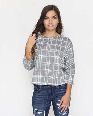 Gray Plaid Top with Back Tie - alma boutique