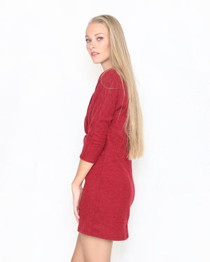 Sammy Cranberry Sweater Shift Dress With Front Twist - alma boutique