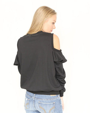 The Lia Ruffle Cold Shoulder Zip Up Sweatshirt - alma boutique