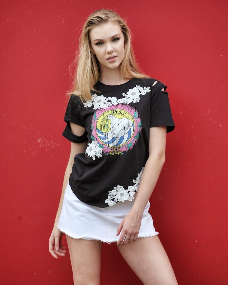 The Black Peace Tee with Arm Cutouts and Lace