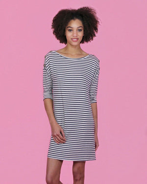 Striped Casual Dress with Buttons - Alma Boutique