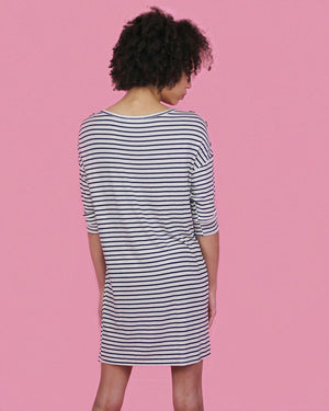 Striped Ivory Dress with Shoulder Buttons - alma boutique