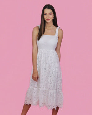 White Eyelet Dress - alma boutique