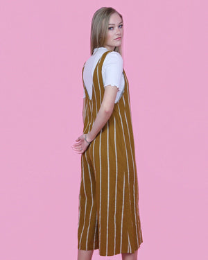 Camel Striped Jumpsuit - alma boutique