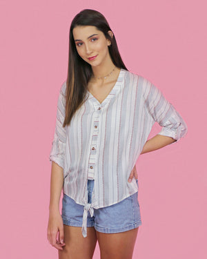 Kayla Front Tie Button Up Stripe Top - alma boutique