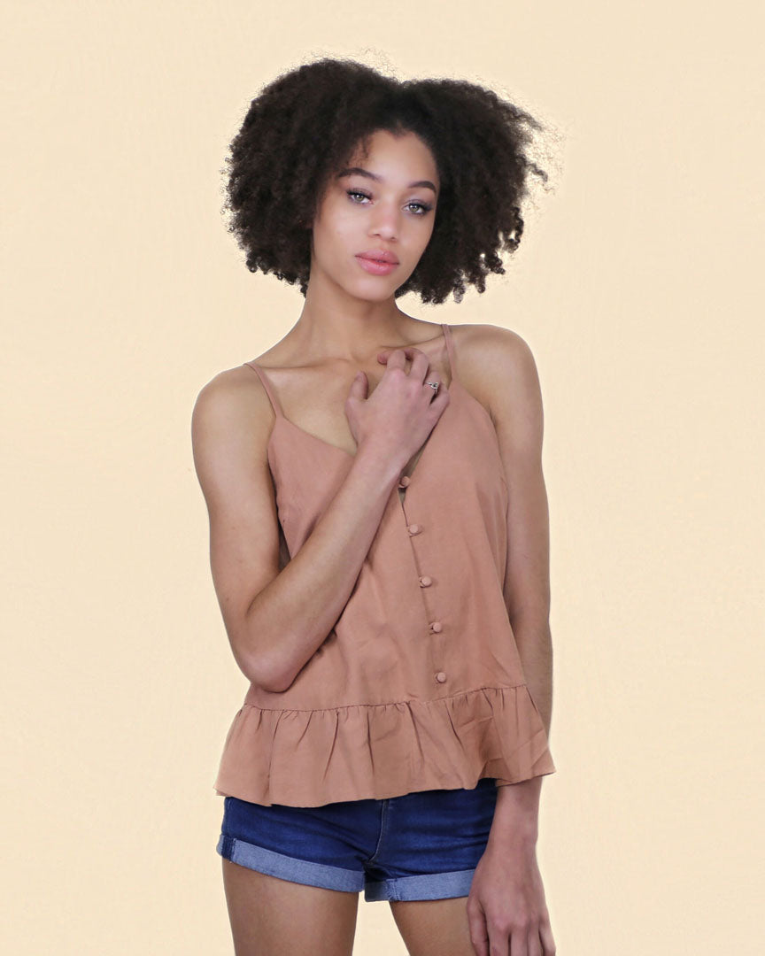 The Dalia Ruffle Linen Top - alma boutique