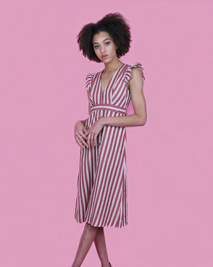 Kayley Red and Ivory Striped Dress - alma boutique