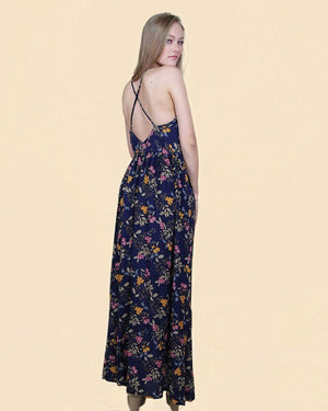 Blue Floral Maxi Dress - alma boutique