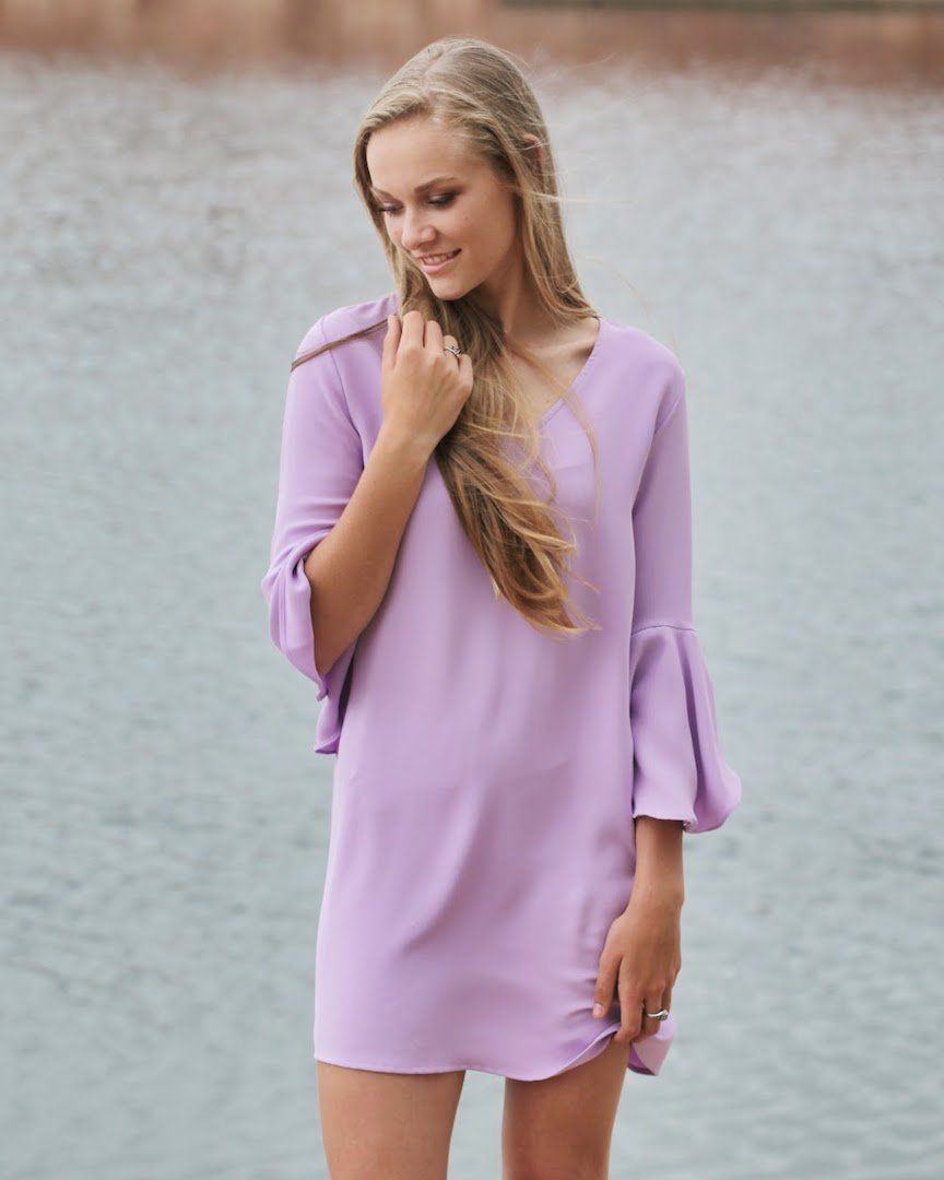Violet Bell Sleeve Shift Dress - alma boutique 89a58ab85