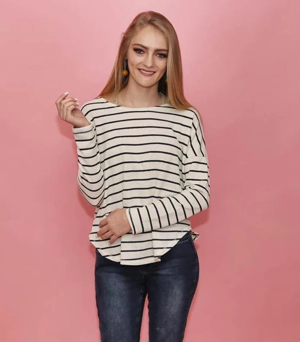 Tara Cream and Navy Striped Top - alma boutique