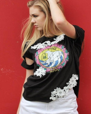 The Black Peace Tee with Arm Cutouts and Lace - alma boutique