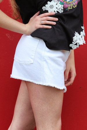 The Not Your Ordinary Denim White Skorts - alma boutique