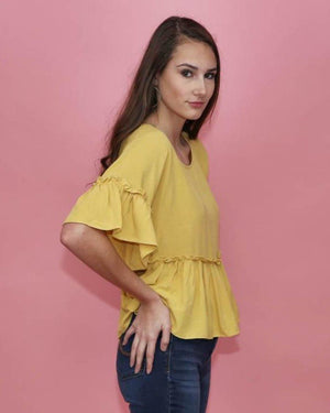 Alyssa Yellow Peplum Top - alma boutique