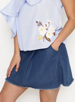 The Valerie Origami Denim Skirt - alma boutique