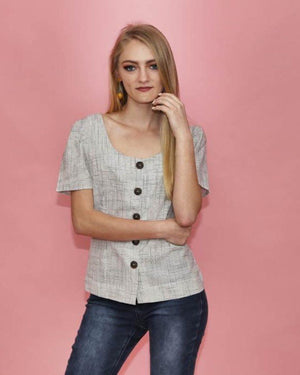 Heather Off White Plaid Top - alma boutique