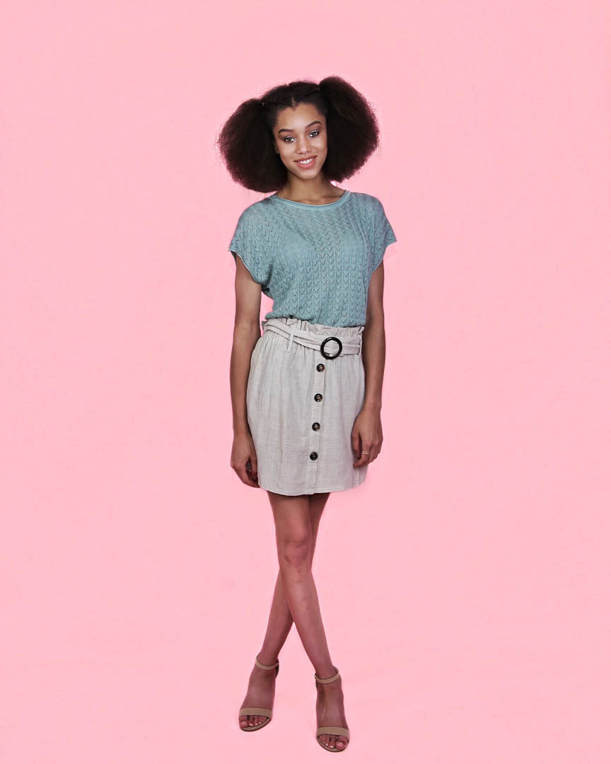 Coco Linen Button Up Mini Skirt - alma boutique