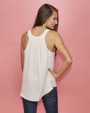 Bella Sleeveless White Top - alma boutique