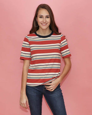 Lila Multi Colored Coral Striped Tee - alma boutique
