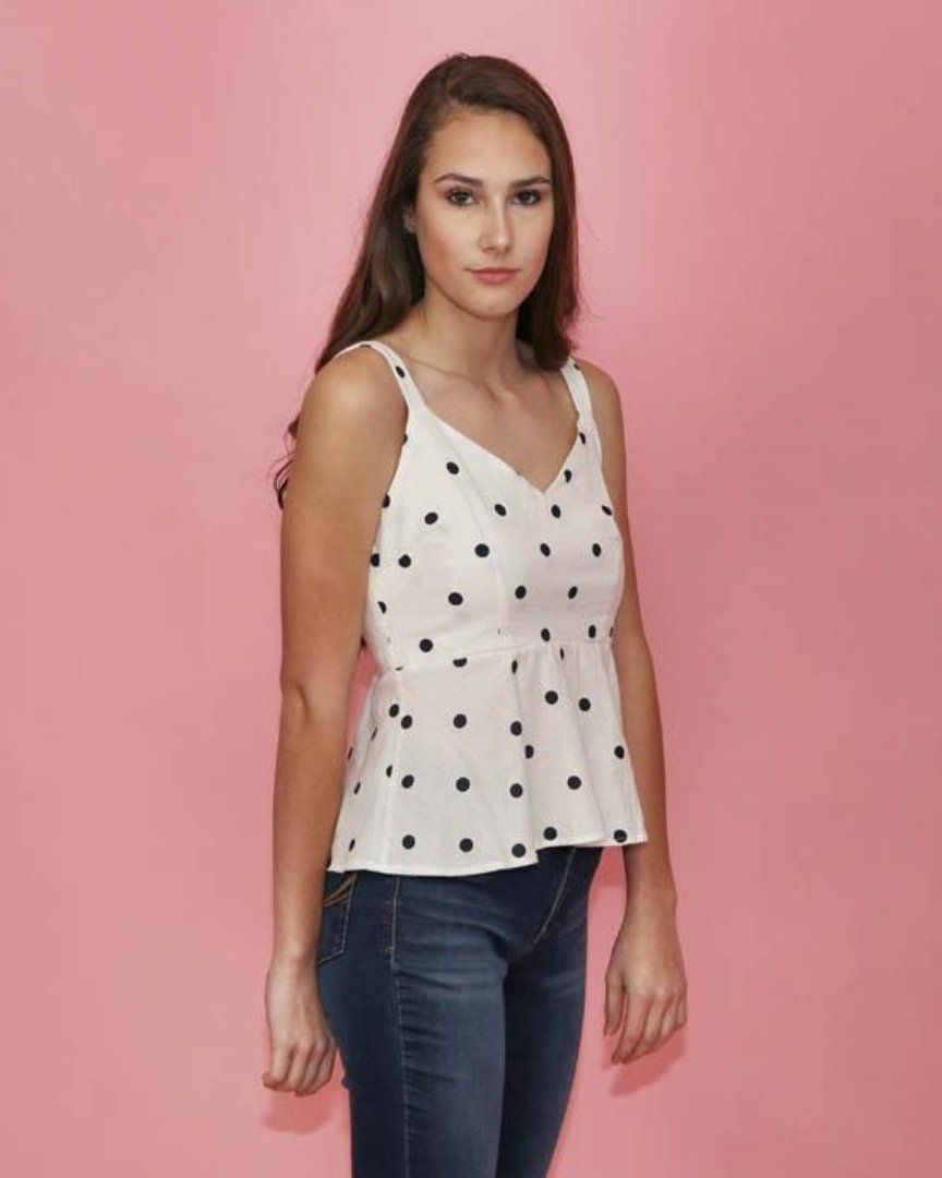 White and Black Polka Dot Peplum Top - alma boutique