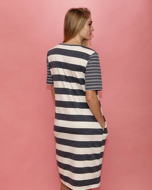 Ivy Blue Multi Striped T-Shirt Dress - alma boutique
