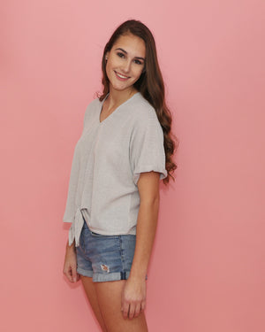 Gray Short Sleeve V Neck Top with Front Knot - alma boutique