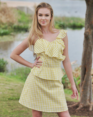 The August Yellow Gingham Dress - alma boutique