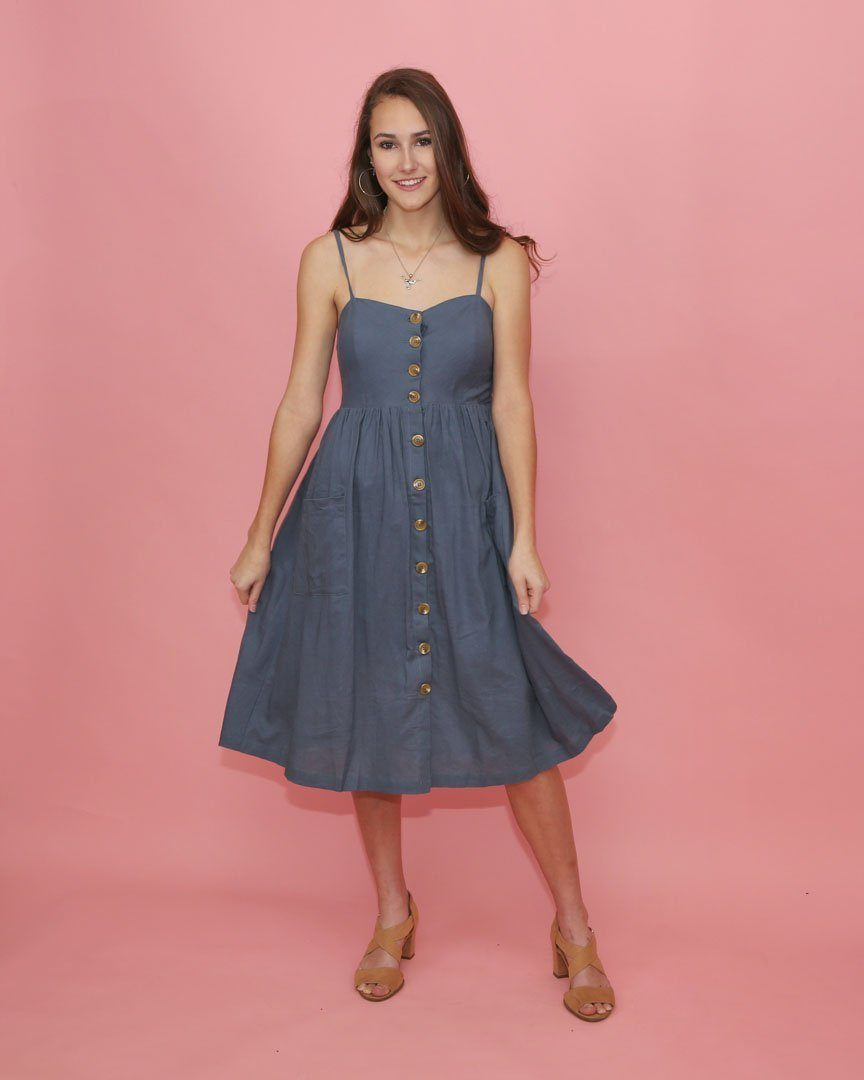 Eva Sundress with Pockets in Denim - alma boutique