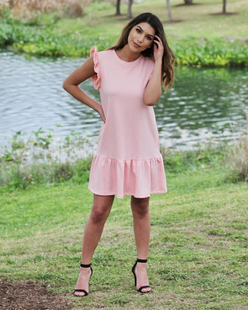 The Dani Petal Pink Ruffle Dress - alma boutique