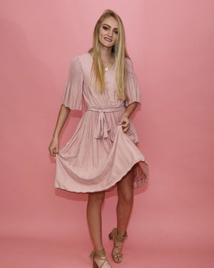 Carrie Pink Pleat Dress - alma boutique