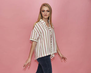 Tracey Multi-Colored Ivory Striped Top with Bottom Tie - alma boutique
