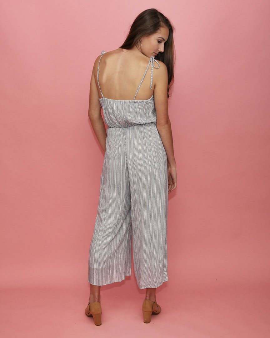 The Isla Blue Jumpsuit With Tie Straps - alma boutique
