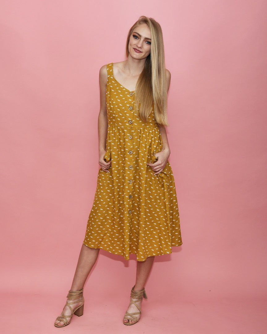 c9140c3a7e36 Mustard Button Down Dress with Pockets - alma boutique
