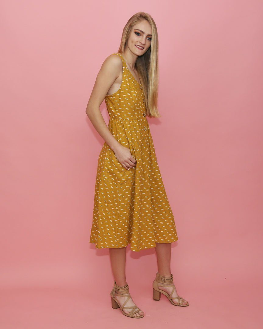 Mustard Button Down Dress with Pockets - alma boutique