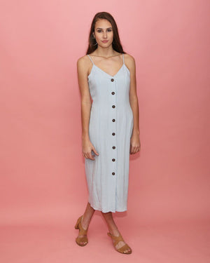 Dani Light Blue Button Up Midi Dress - alma boutique