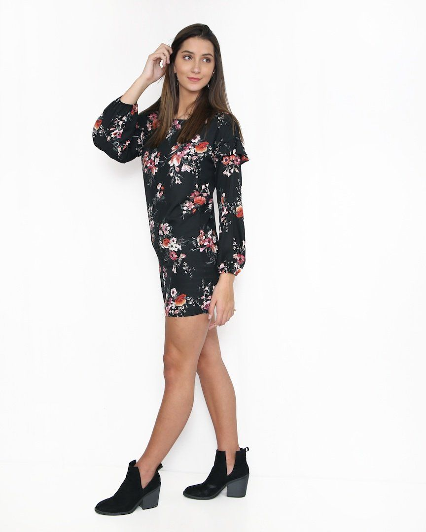 Black Long Sleeve Floral Dress Alma Boutique Free Shipping On 50