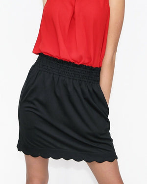 Black Skirt with Scalloped Hem - alma boutique