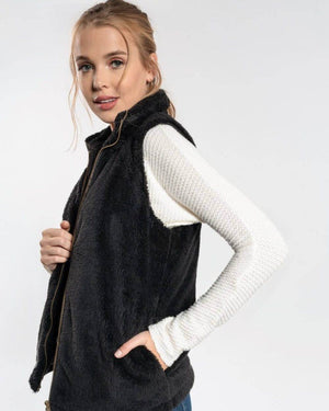 Black Faux Fur Vest - alma boutique