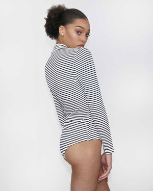 Brit Black and White Striped Bodysuit - alma boutique