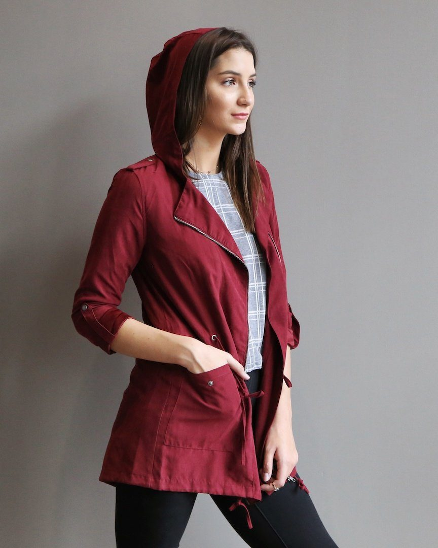 The Casey Burgundy Drawstring Utility Jacket - alma boutique