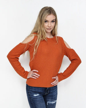 The Cara Burnt Orange Cold Shoulder Sweater - alma boutique