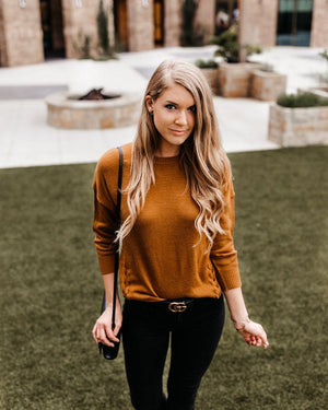 The Mustard Lace Up Sweater - alma boutique