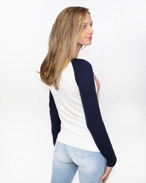 Color Blocked Crew Neck Sweater - alma boutique