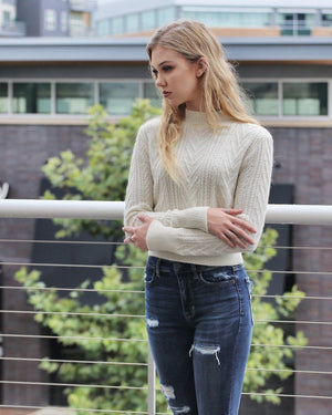 Ivory Knit Sweater Top - alma boutique