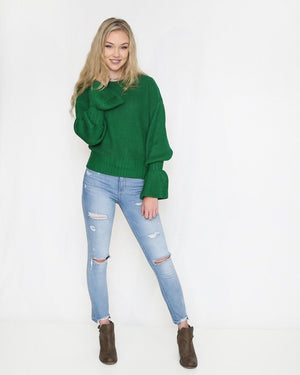 The Kelly Green Sweater with Bell Sleeves - alma boutique