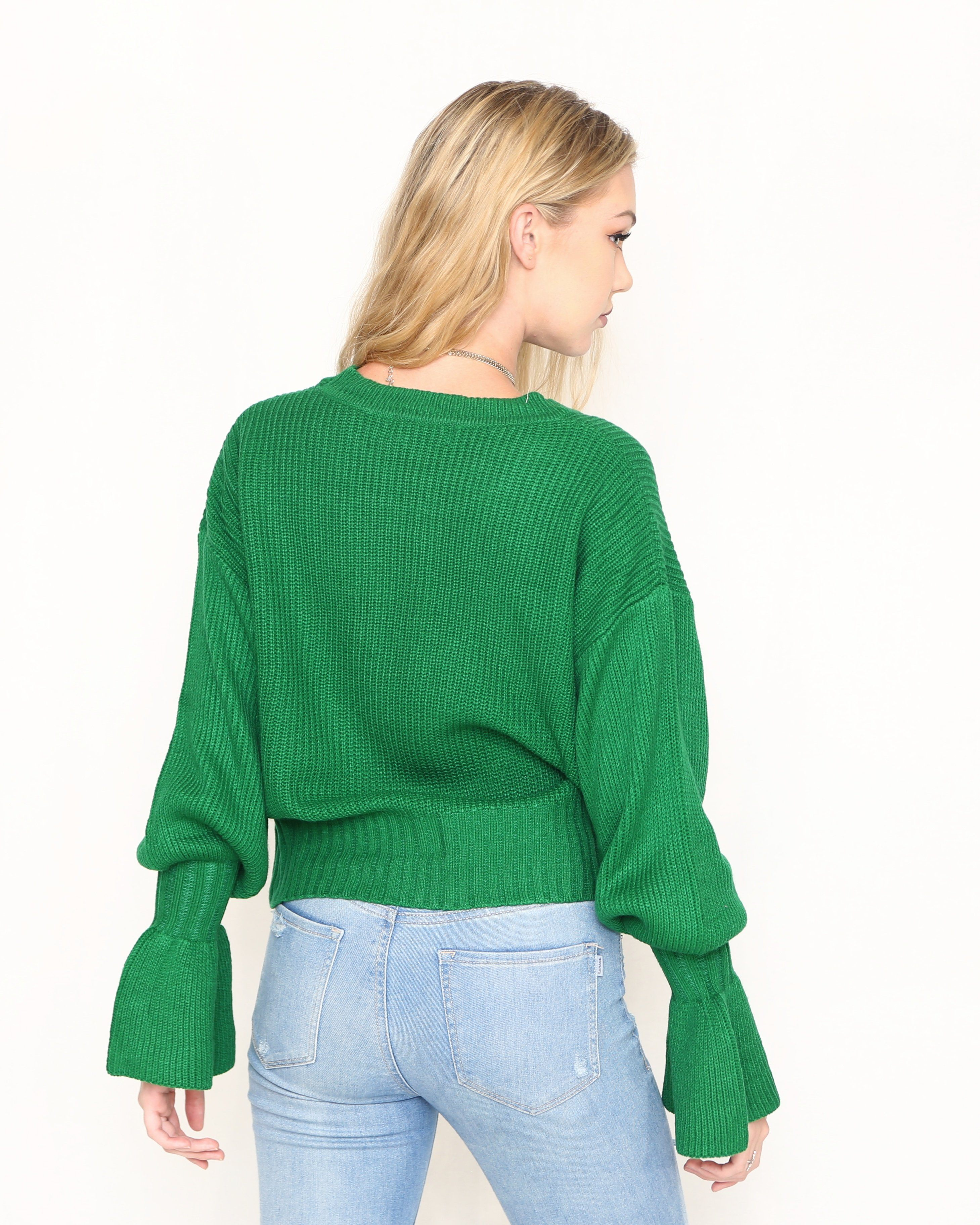 Green Sweater with Bell Sleeves | Bell Sleeves Sweater