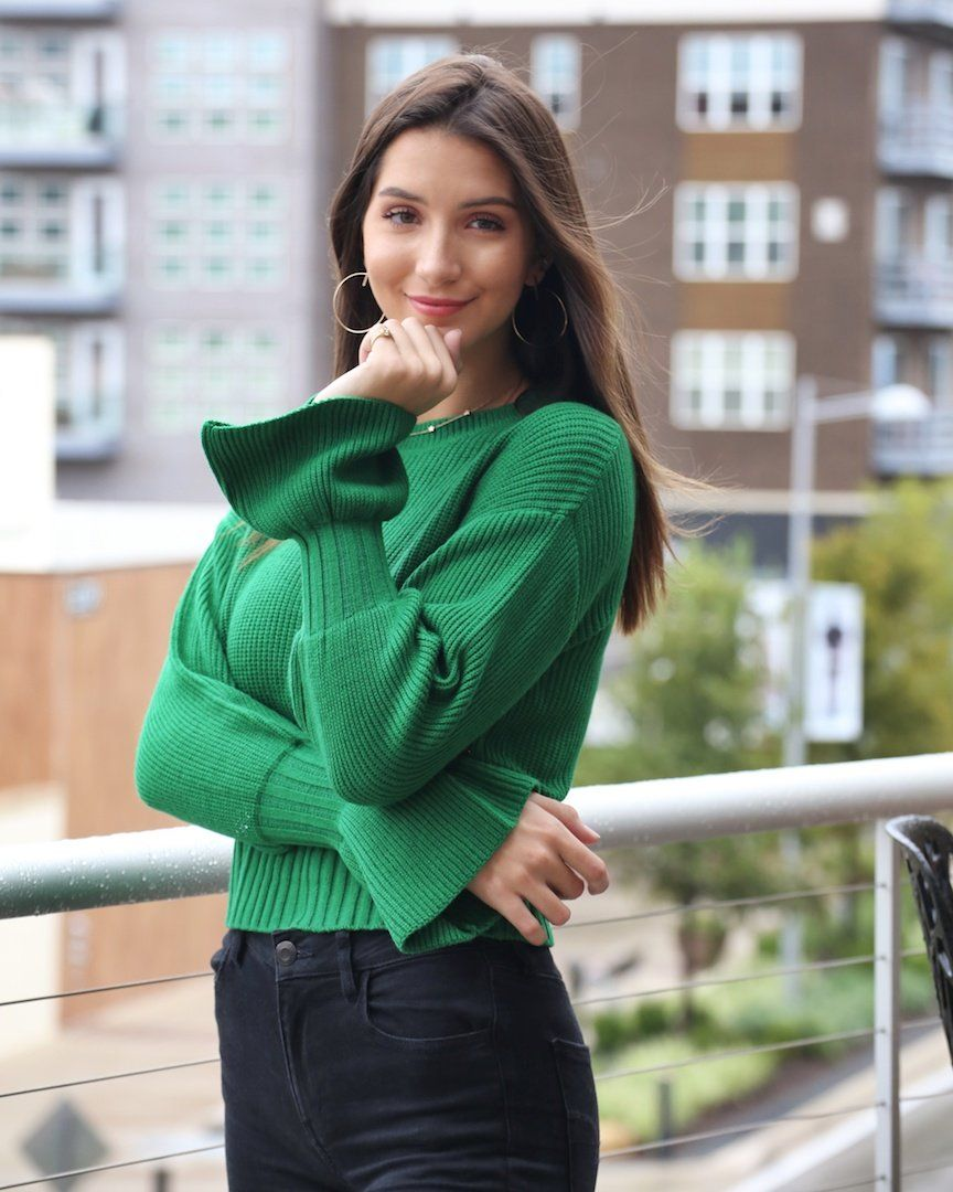 295b0a6aabe The Kelly Green Sweater with Bell Sleeves - alma boutique